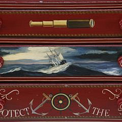 Red Nautical Painted Three Drawer Chest