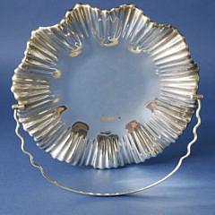 English Silver Pedestal Swing Handle Basket