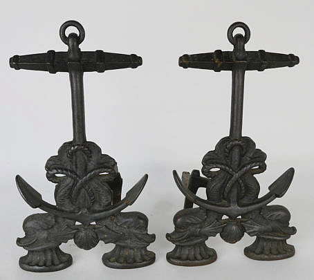 3-4722 Pair of Vintage Cast Iron Anchor and Sea Porpoise Andirons A_MG_4266