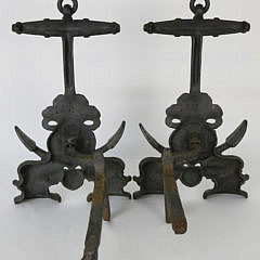 Pair of Vintage Cast Iron Anchor and Sea Porpoise Andirons
