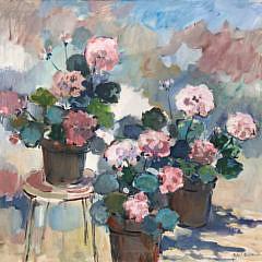 "Sybil Goldsmith Oil on Canvas ""Pink Geraniums"""