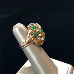 Jadeite and Diamond 14k Yellow Gold Cocktail Ring