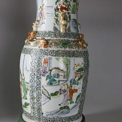 Chinese Export Famille Verte Vase Mounted as Lamp, circa 1830