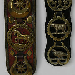 Two Decorative Horse Brasses on Leather Straps