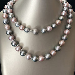 Grey Tahitian South Sea and Pink Fresh Water Pearl Necklace with 14k White Gold and Diamond Clasp