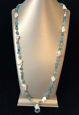 40869 Aquamarine bead and white baroque pearl necklace A IMG_4431