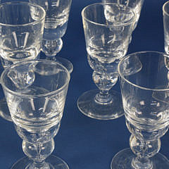 Set of 13 Signed Steuben Clear Crystal White Wine Glasses