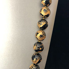 Black Obsidian Gold Engraved Bead Necklace with Sterling Silver Vermeil and Crystal Clasp
