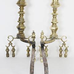 Pair of American Empire Brass Andirons, circa 1830-1840