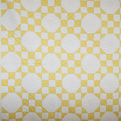 1930s Yellow and White 9-Patch In a Square Patchwork Quilt