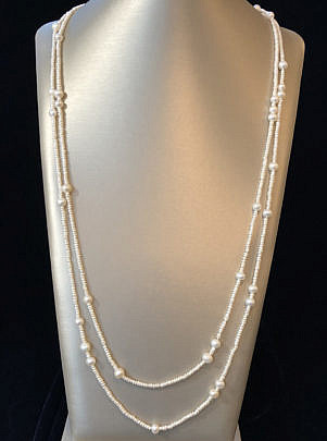 41256 white seed pearl and fresh water pearl necklace A IMG_4455