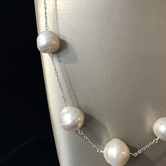 14.5mm – 17.5mm White South Sea Baroque Pearl Tin Cup Necklace