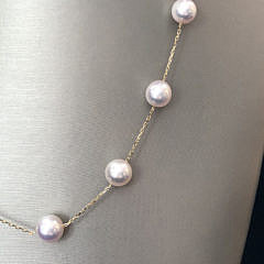 Fine 18k Yellow Gold White Akoya Pearl Tin Cup Necklace