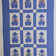 "41289 1930's Blue and White, ""Little Farmer Boy"", Crib Quilt A_MG_3532"