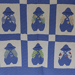 "1930s Blue and White, ""Little Farmer Boy"", Crib Quilt"