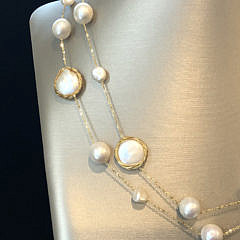 White Round Fresh Water, Baroque and Coin Pearl Necklace with Sterling Silver Wire and Chain