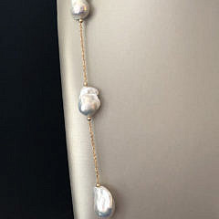 Fine 14k Yellow Gold and White Baroque Pearl Necklace