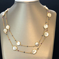 41307-101 White Coin Pearl and Multicolor Sapphire Necklace A IMG_4066