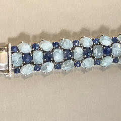 Faceted Aquamarine and Blue Sapphire Sterling Silver Bracelet