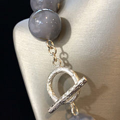 Chalcedony Bead Necklace with Brushed Sterling Silver Toggle Clasp
