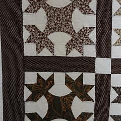 Antique Brown Calico Oak Leaf Patchwork Quilt
