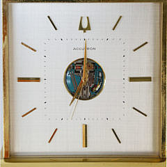 1979 Brass Accutron Presentation Desk Clock Bulova Watch Company