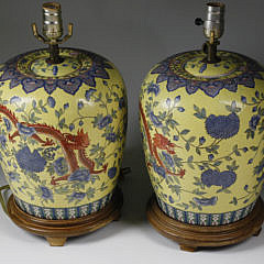 Pair of Chinese Porcelain Ginger Jars Mounted as Lamps