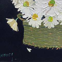 "Andrew Shunney Oil on Canvas ""Daisies in a Basket Still Life"""
