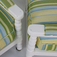 "Pair of ""Century Furniture"" White Painted Bobbin Chairs"