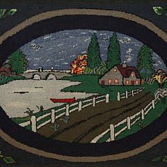 2109-955 Hooked Rug Depicting a Countryside Homestead with Floral Boarder A_MG_3584