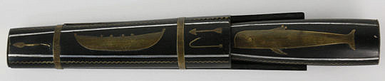 70-4817 Ebony and Brass Black Fish Inlaid Dagger with Scabbard A_MG_3784