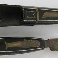 Antique Ebony and Brass Inlaid Black Fish Inlaid Knife