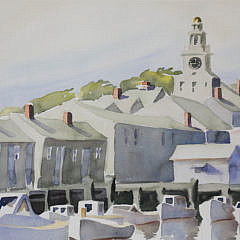 """Monumental Doris and Richard Beer Watercolor on Paper, """"Old North Wharf"""""""