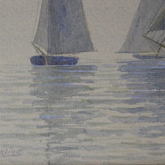 "J.D. Hunting Watercolor on Paper, ""Schooners in the Fog, Nantucket"""