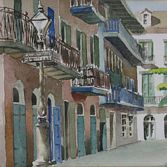 "Doris and Richard Beer Watercolor on Paper, ""Pirate's Alley, New Orleans"""