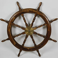 9-4890 Elmwood and Brass Ship's Wheel A_MG_3460