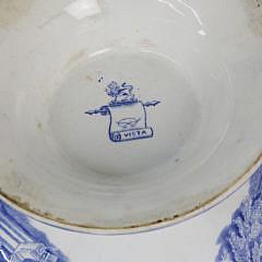 Blue Transferware Punch Bowl, 19th c.