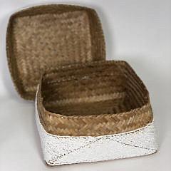 Bali White Micro Bead Encrusted Rattan Box