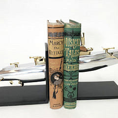 Pair of Polished Chrome and  Brass Submarine Bookends