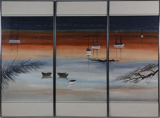 "1500-54 Triptych Watercolor, ""Florida Keys Shoreline Seascape"" A_MG_3903"