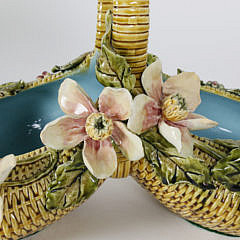 Antique Majolica Porcelain Flower Basket