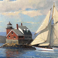 "William Lowe Oil on Linen ""Passing Rockland Breakwater Lighthouse Maine"""