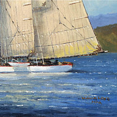 """William Lowe Oil on Linen """"Passing Rockland Breakwater Lighthouse Maine"""""""
