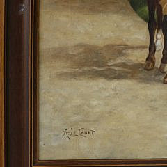 """A. Le Court Oil on Canvas """"A Girl and Her Pets"""", circa 1920s"""