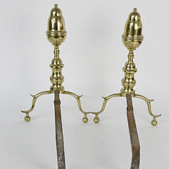 Pair of New York Brass Bullet Top Andirons, 19th Century