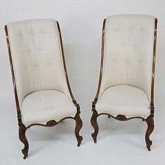 Pair of English Regency Rosewood Slipper Chairs, circa 1840