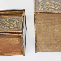 Pair of English Bamboo Bedside Cabinet End Tables