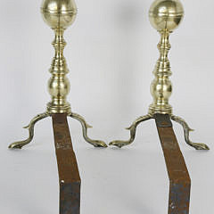 Pair of  Brass Boston Ball Top Andirons, early 19th Century