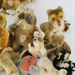 Collection of 18 Antique Steiff Animals with Tags and Buttons