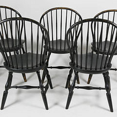 Set of Five Contemporary Rhode Island Style Bow Back Windsor Dining Chairs